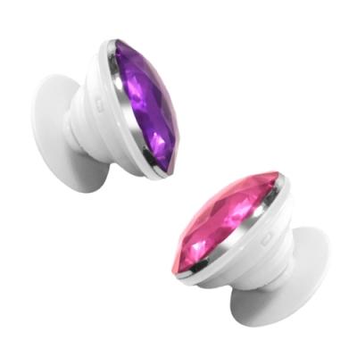 鑽石 造型 伸縮氣囊 防摔 手機支架 耳機繞線 支架 桌面支架-紫色款-紫色*1