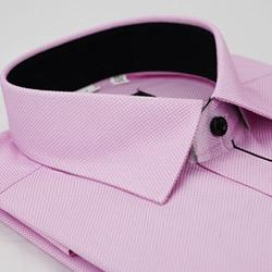 【金安德森】粉紫色細紋門襟黑配色窄版長袖襯衫