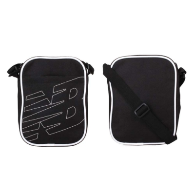 NEWBALANCE 小型側背包-斜背包 肩背包 隨身包 NB LAB93008BK 黑白