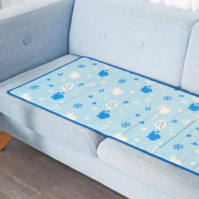 奶油獅 雪花樂園-長效型降6度涼感冰砂冰涼墊/三人坐墊/沙發墊 50x150cm藍色