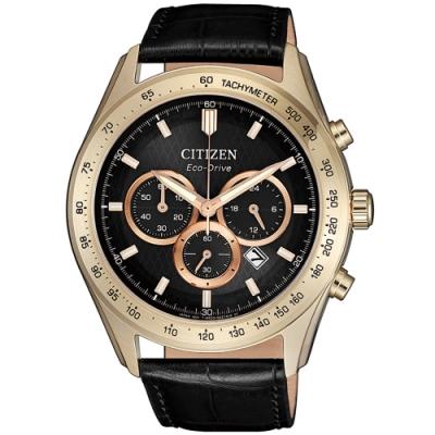 CITIZEN星辰 亞洲限定光動能菱紋三眼計時手錶-43mm(CA4453-14E)