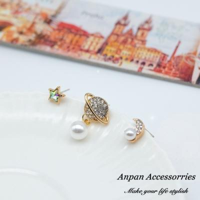 【ANPAN愛扮】韓東大門迷幻星球珍珠925銀耳針式耳環三入組