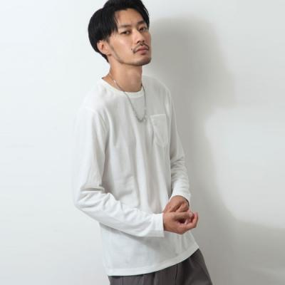 長袖素面T恤長tee胸前口袋(3色) ZIP日本男裝