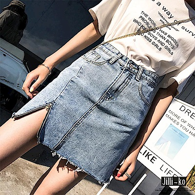 Jilli~ko 拉鍊造型包臀牛仔半裙-淺藍
