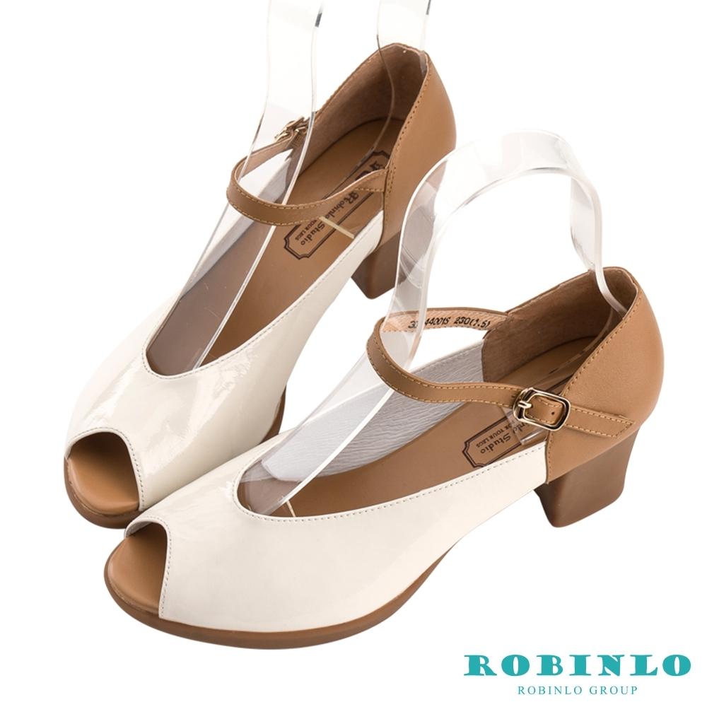 Robinlo浪漫拼色繞踝繫帶魚口粗跟鞋 米白色