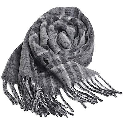 RALPH LAUREN POLO 義大利製小馬刺繡雙面配格紋羊毛圍巾(灰色系)