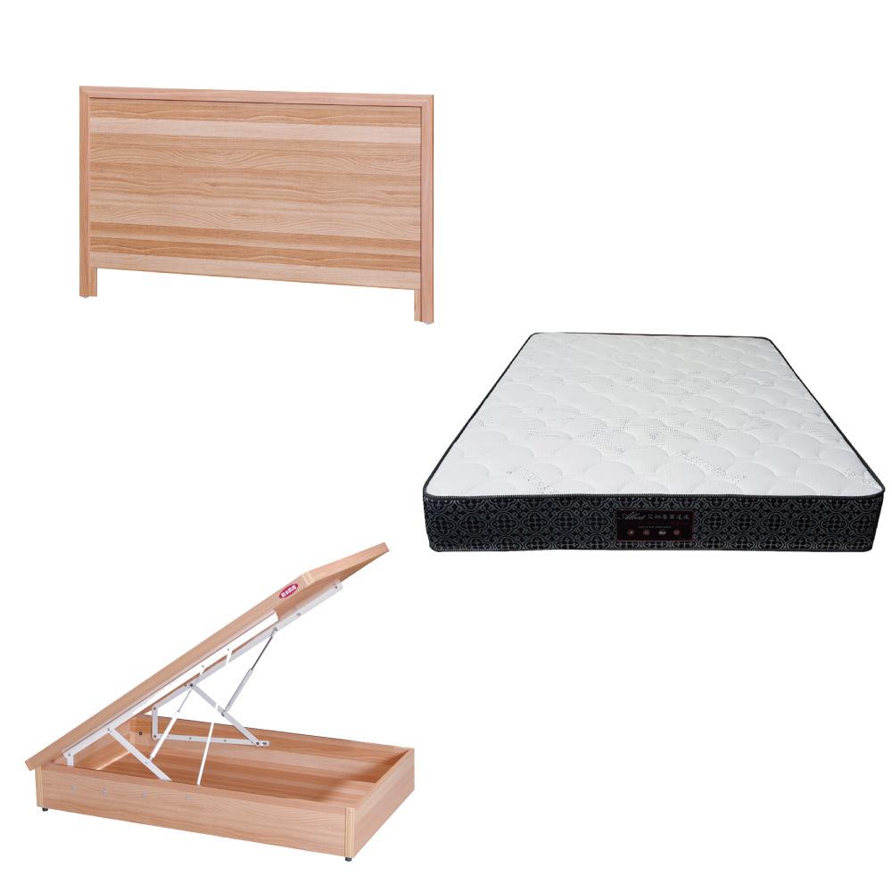綠活居 梅可3.5尺單人床台三式組合(床頭片+後掀床底+防蹣抗菌獨立筒床墊)五色可選