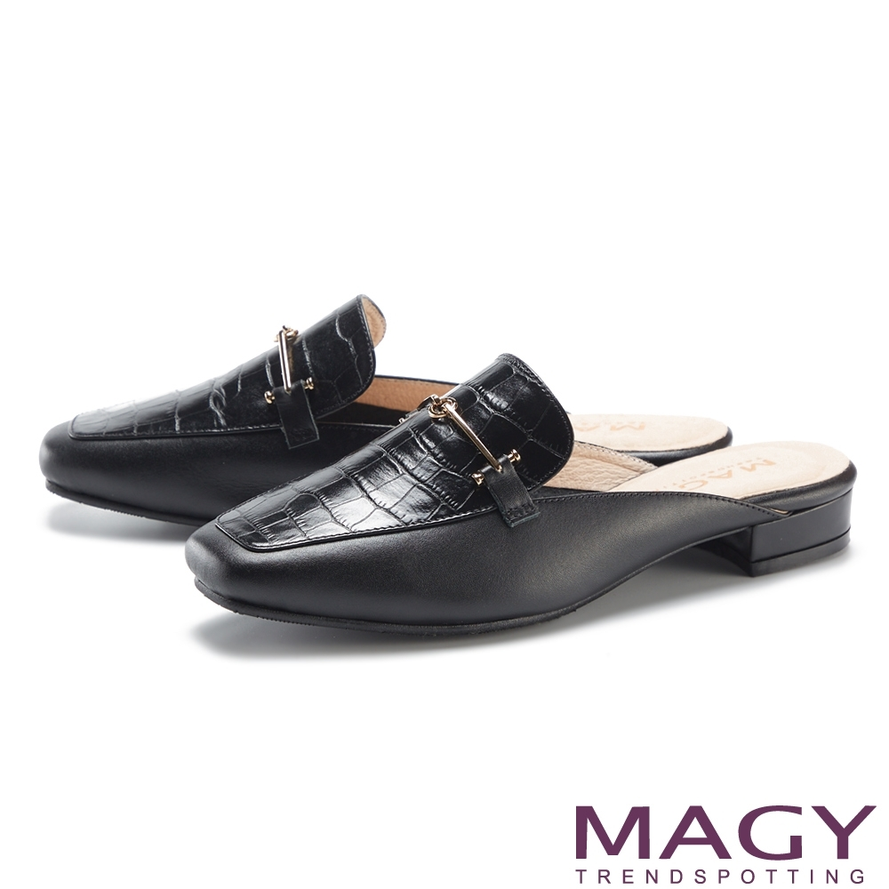 MAGY 鱷魚壓紋金屬真皮低跟 女 穆勒鞋 黑色