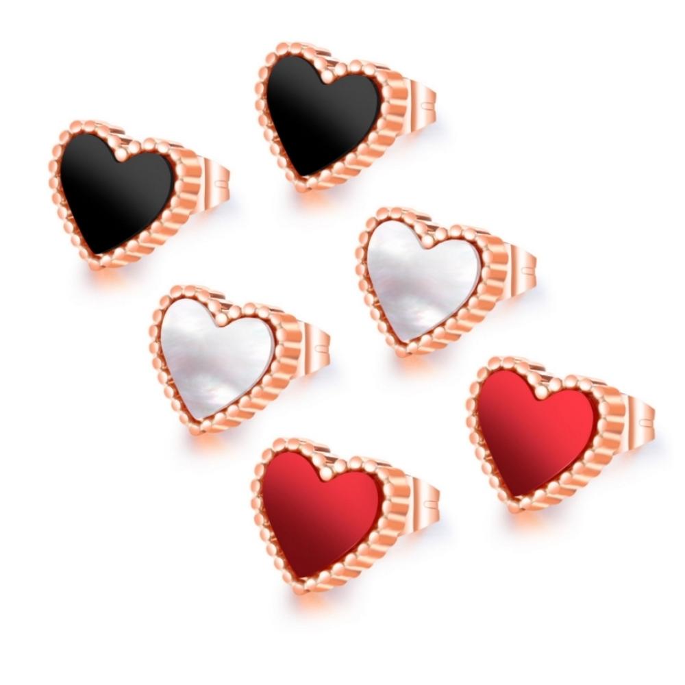 I-Shine-西德鋼-小愛心-甜美愛心造型玫瑰金鈦鋼耳針耳環DA32