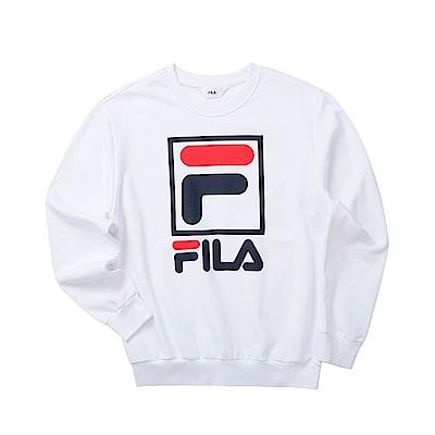 FILA 男長袖圓領T恤-白色 1TET-5503-WT