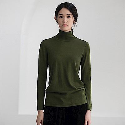 旅途原品_淡語_原創設計美麗諾羊毛保暖高領毛衣-綠/淺咖
