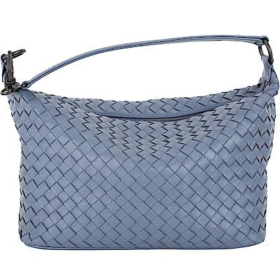 BOTTEGA VENETA 經典小羊皮手工編織肩背包(灰藍色)