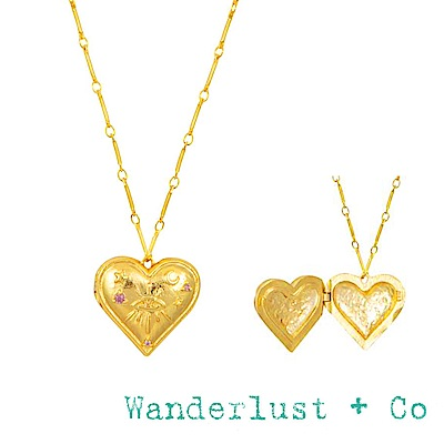 Wanderlust+Co 鑲鑽藏寶盒項鍊 金色愛心項鍊 HARLOW LOCKET