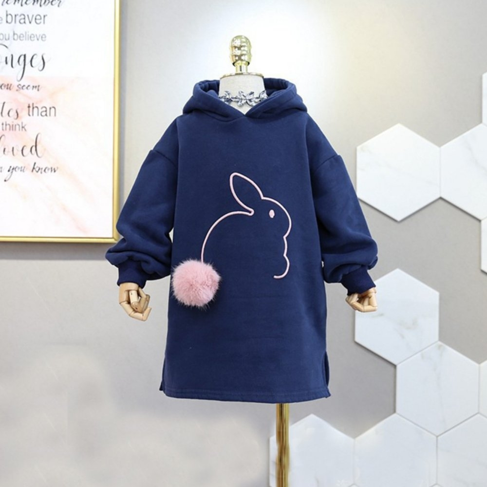 小衣衫童裝    小女生連帽兔子毛球內刷毛長版T裙1071103