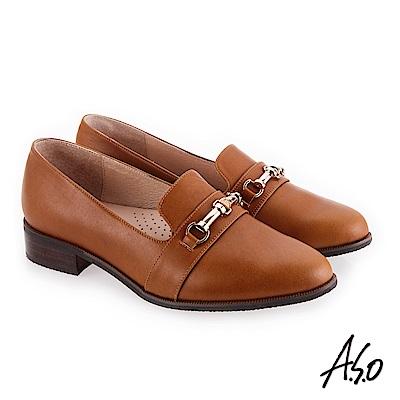 A.S.O 新式復古 嚴選皮質鞋面條帶低跟鞋 茶