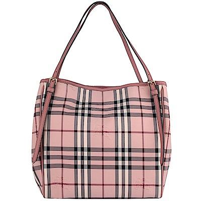 Burberry Horseferry 戰馬蘇格蘭紋帆布粉紅色皮飾邊雙造型托特包