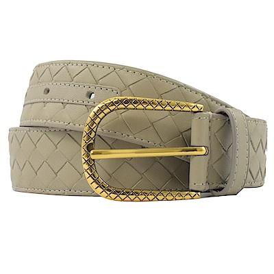 BOTTEGA VENETA編織皮革基本款樣式皮帶(淡灰色)