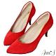 Ann'S幸福第一步-MIT質感電鍍鞋跟氣墊尖頭跟鞋-紅 product thumbnail 1