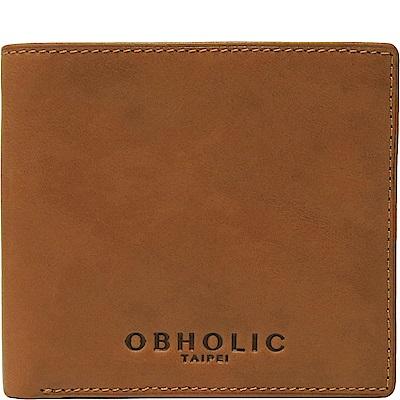 OBHOLIC 蜂蜜色牛皮男士錢包皮夾短夾(相框款)