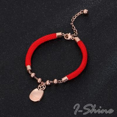 I-Shine-本命年可愛招財貓開運鈦鋼玫瑰金紅繩手鍊LA241
