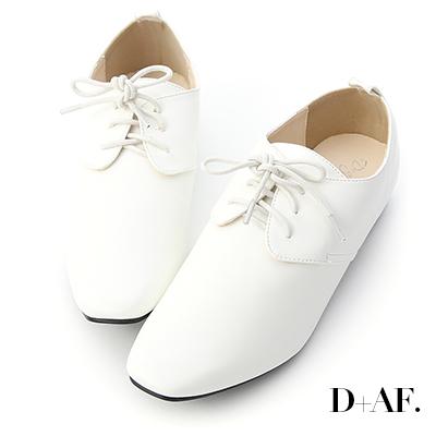 D+AF 文青潮流.復古小方頭綁帶牛津鞋*白