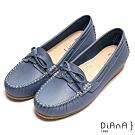 DIANA 細膩車線蝴蝶結悠活舒適真皮休閒鞋-輕鬆樂活-淺藍