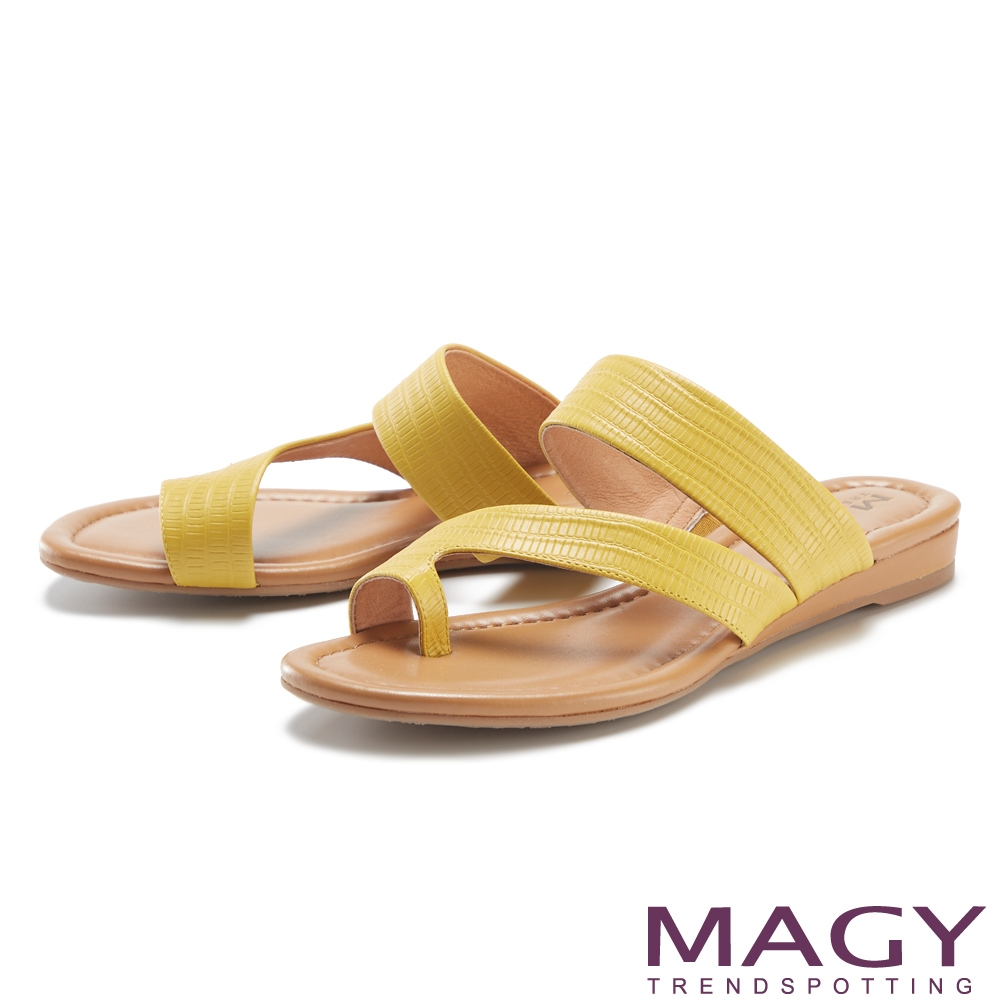 MAGY 斜邊龍骨紋牛皮套指 女 拖鞋 黃色
