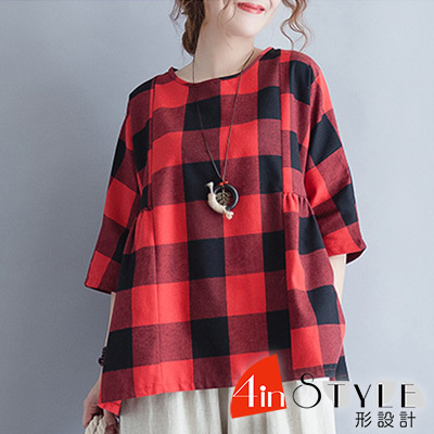 圓領復古格紋寬鬆棉麻上衣 (紅色)-4inSTYLE形設計