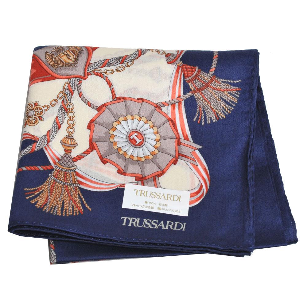 TRUSSARDI 經典品牌流蘇圖騰LOGO大帕領巾(深藍系) @ Y!購物
