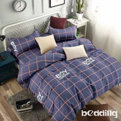 BEDDING-活性印染-特大6x7薄式床包枕套三件式-英倫學院