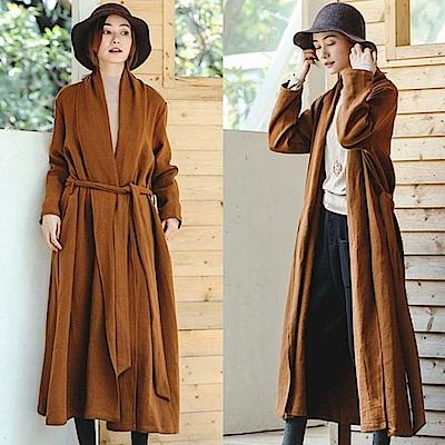 外套-加厚高端風衣亞麻大衣-F8917-設計所在