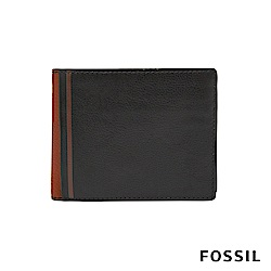 FOSSIL JEROME 撞色款證件零錢袋兩折短夾-黑/咖啡 ML4029001