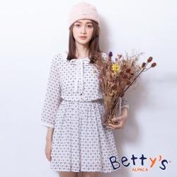 betty's貝蒂思 腰間鬆緊上開襟雪紡洋裝(白色)