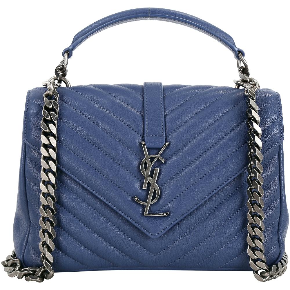 (無卡分期18期)YSL Saint Laurent 復古金屬絎縫羊皮學院包(中/蔚藍色)
