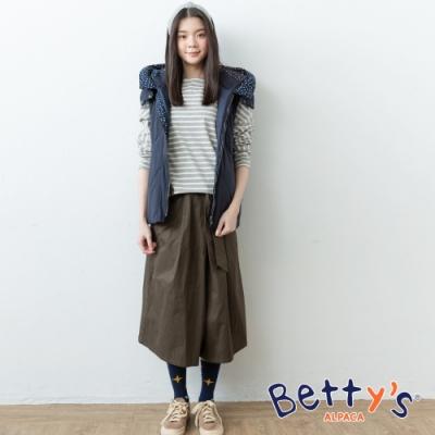 betty's貝蒂思 斜口袋微刺繡九分寬褲(深綠)