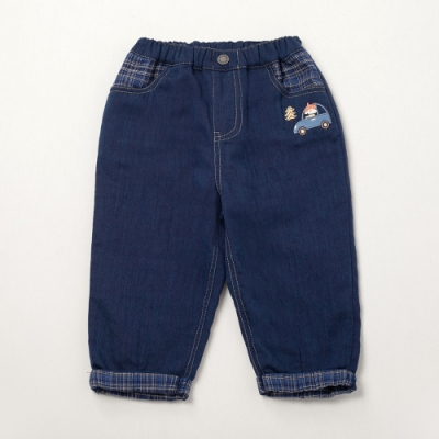 PIPPY小汽車刺繡長褲-藍色