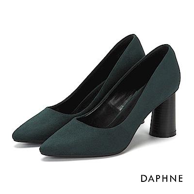 達芙妮DAPHNE 高跟鞋-純色絨面圓柱木紋高跟鞋-墨綠