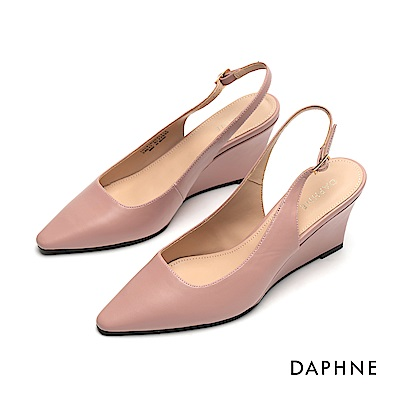達芙妮DAPHNE 高跟鞋-美型坡跟素雅純色高跟鞋-粉紅