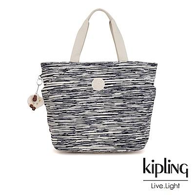 Kipling 線條塗鴉紋復古休閒LOGO托特包-AGGIE