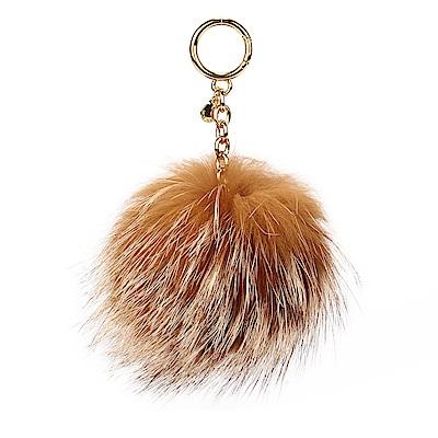 MICHAEL KORS 毛毛球鑰匙圈吊飾-大/咖啡色