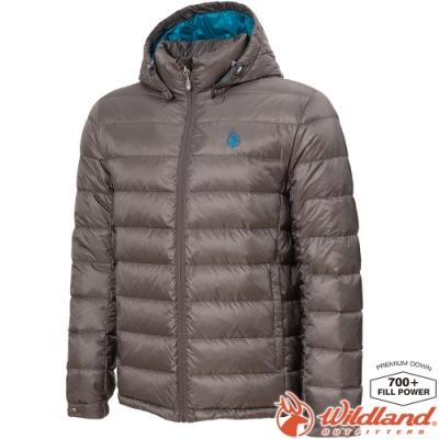Wildland 荒野 0A72102-95鐵灰色 男收納枕拆帽極暖鵝絨外套