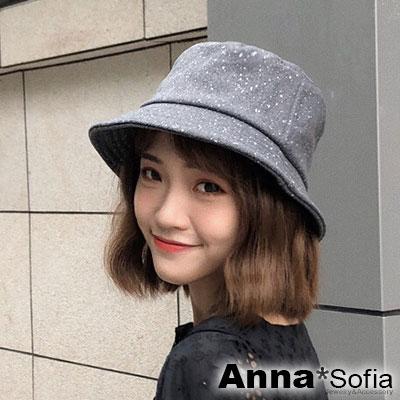 AnnaSofia 雪點軟絨 軟式平頂漁夫帽盆帽(深灰系)