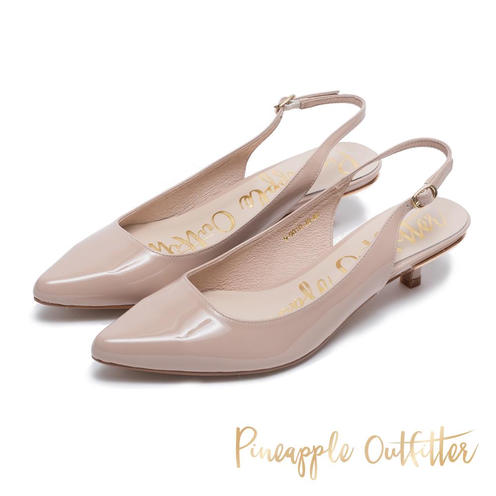 Pineapple Outfitter 完美比例 絨面後繫帶跟鞋-鏡粉