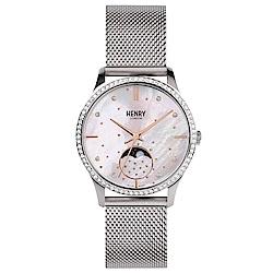 Henry London 閃耀晶鑽月相米蘭帶手錶-珍珠貝X銀/35mm