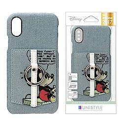 iPhone Xs/X 手機殼 迪士尼 皮革/插卡/口袋 指環式 硬殼 5.8吋-說話米奇