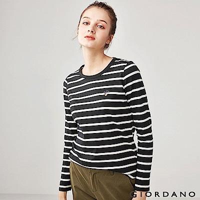 GIORDANO 女裝純棉小巧刺繡長袖T恤-03 標誌黑/皎雪色