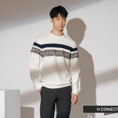 H:CONNECT 韓國品牌 男裝-橫線拼接織紋大學T-米白