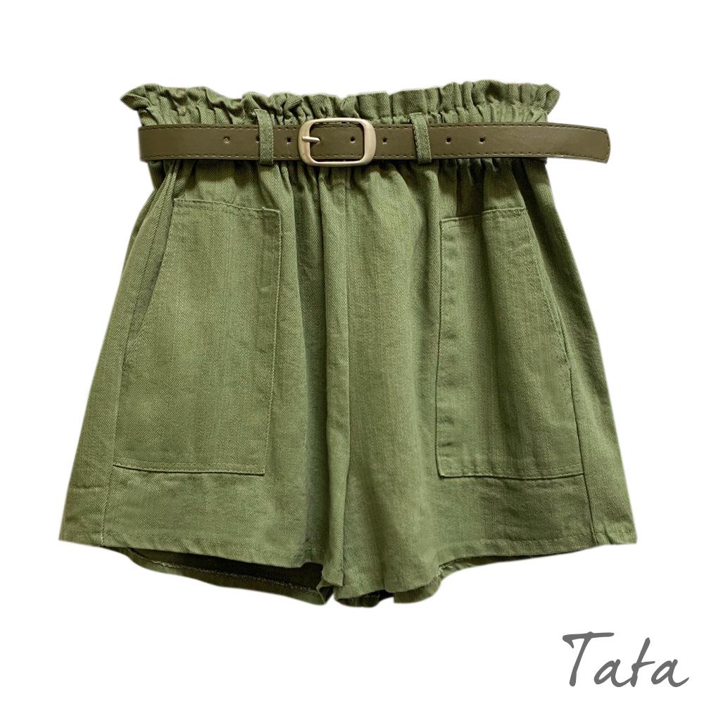 花苞邊鬆緊腰短褲(附腰帶) 共三色 TATA product image 1