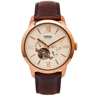FOSSIL 簍空設計款圓弧鏡面的機械手錶(ME3105)-淡黃面/44mm