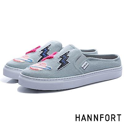 HANNFORT CAMPUS微笑徽章厚底包跟穆勒鞋-女-復古藍